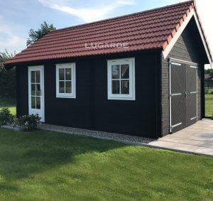 Woodpro garage G5 with an apex roof and with double doors.