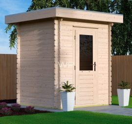 Tiny wooden summerhouse with a flat roof