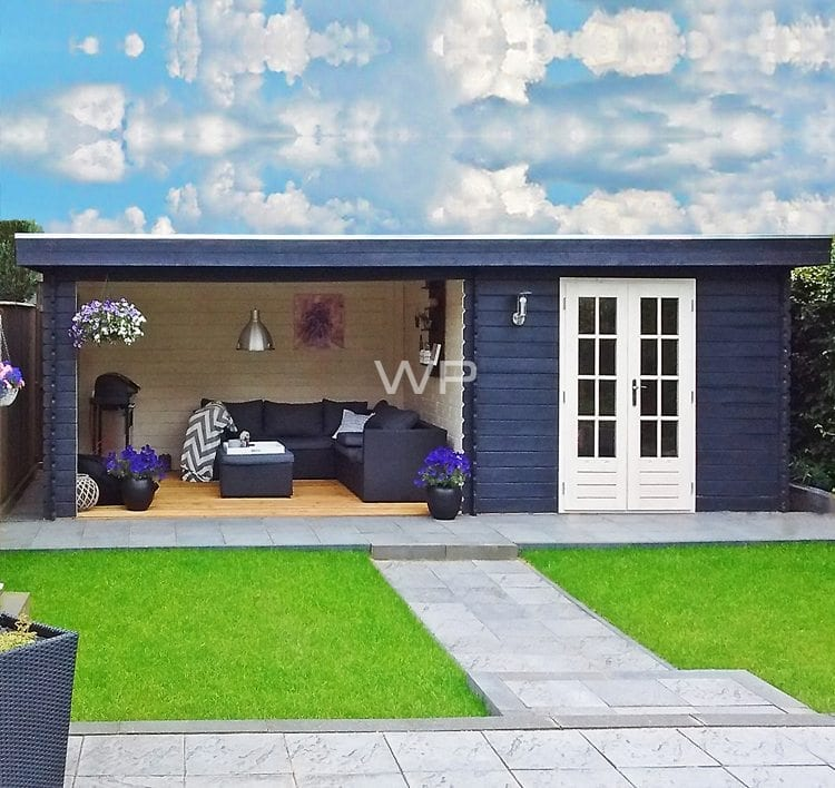 Blue garden house with a flat roof