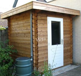 Small wooden garden shed with a flat roof