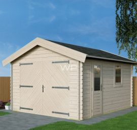 Wooden garage with an apex roof