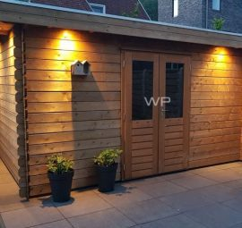 Woodpro log cabin with double door and a flat roof