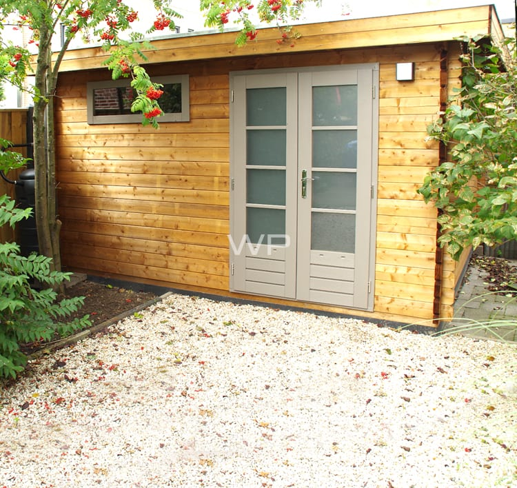 Log cabin 27188 with flat roof and double doors
