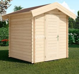 This log cabin is small, has an apex roof and a single door