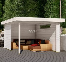 This veranda has an flat roof and 1 window
