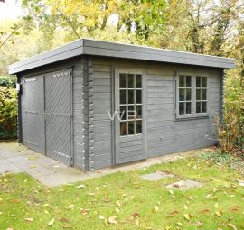 A grey wooden garage for a garden