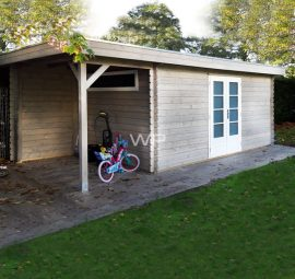 This log cabin has a flat roof and a small veranda