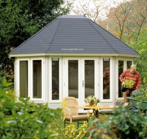 Woodpro Pavilion P891 with a metal roof finishing - very stable and easy to assemble.