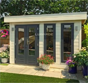 Woodpro flat roof summerhouse PR2 with white exterior from Prima system range.