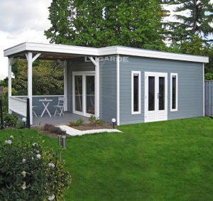 Woodpro flat roof summerhouse PR38 with a canopy from Prima system range.