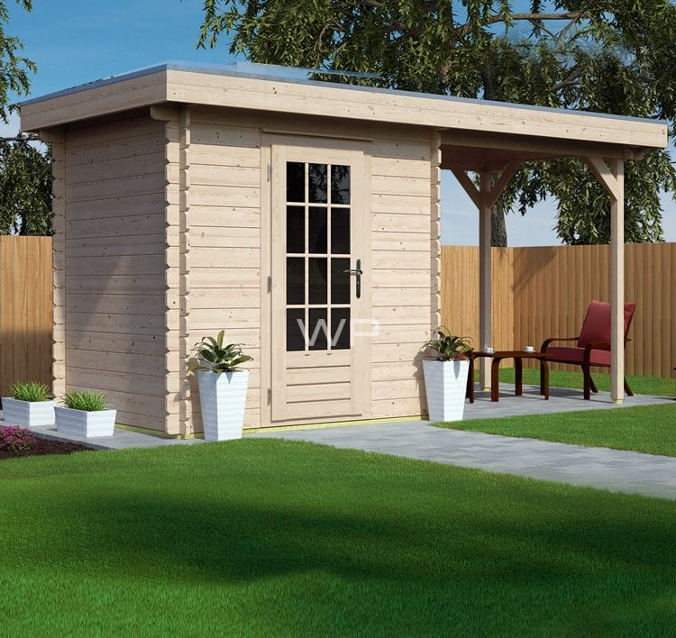 Small wooden summerhouse with a side shed attached