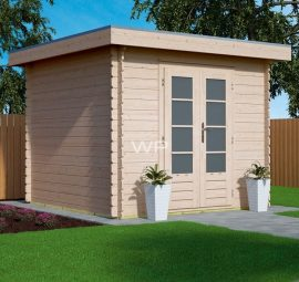 Wooden garden log cabin with a flat roof