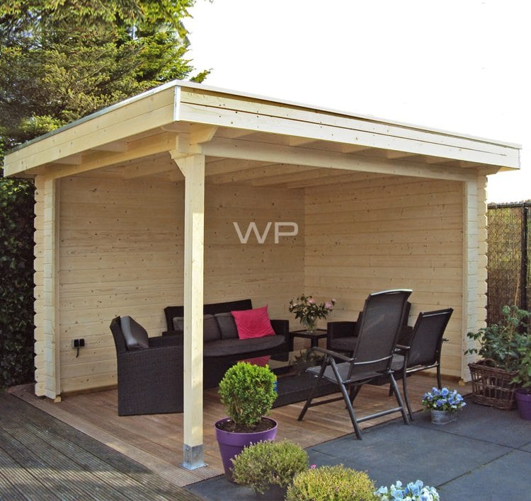 Wooden veranda with sides and flat roof