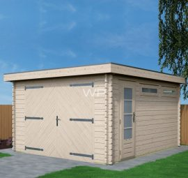 Wooden garage with a flat roof