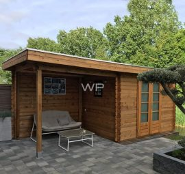 Woodpro log cabin with veranda and flat roof