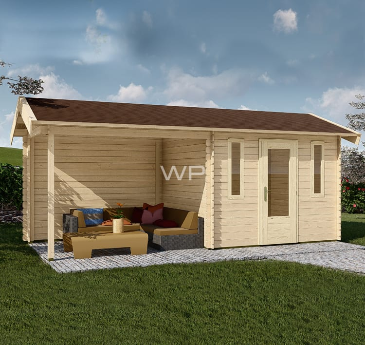 Log cabin 28013 has an Apex roof and a veranda