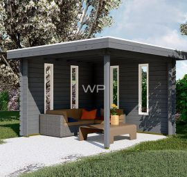 Grey wooden gazebo with sides